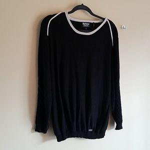 Black sweater w off white ribbing & waffle sleeve